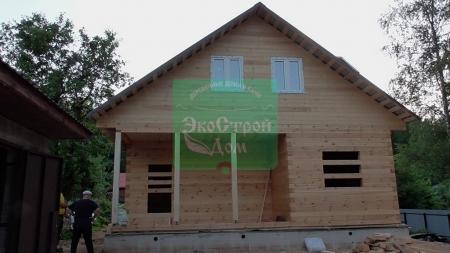 Дом из проф. бруса 145х145 8х10 по проекту заказчика на готовый ленточный фундамент  в Икше
